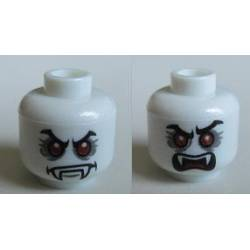 Head Dual Sided Alien with Red Eyes, Fangs, Angry Eyebrows, Mouth Closed / Mouth Open Pattern (Lord Vampyre) - Hollow Stud