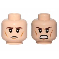Head Dual Sided Brown Eyebrows, Wrinkles, Calm / Angry, Clenched Teeth Pattern