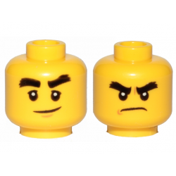 Head Dual Sided Black Bushy Eyebrows, Smile / Angry Pattern