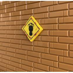 """""""Danger: Gas mask only"""" Sign yellow - tile 2x2"""